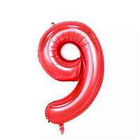 Большой воздушный шар в форме цифры 9 из фольги. 1 м.  Цвет красный