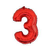 Большой воздушный шар в форме цифры 3 из фольги. 1 м.  Цвет красный