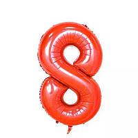 Большой воздушный шар в форме цифры 8 из фольги. 1 м.  Цвет красный