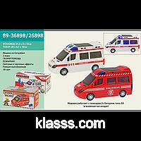 Городские службы 89-3689B/2689B,2 вида, батарейки, свет, звук, в кор.21, 5*9*10см,игрушечная машинка,игрушка
