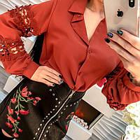 Стильная женская блузка рубашка креп-шифон и кружево черная, белая, розовая, коричневая