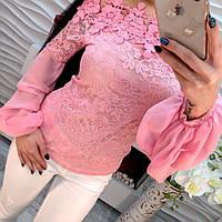 Элегантная модная блузка-крестьянка гипюр и дорогое кружево с открытыми плечами только розовая