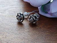 Срібні сережки-гвоздики (пуссети) у вигляді Троянди, фото 1