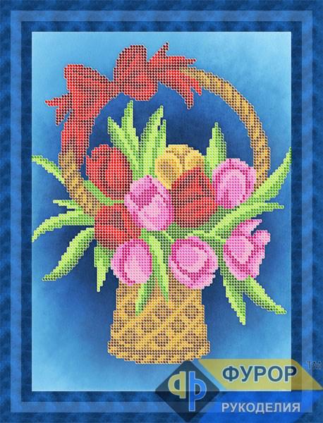 Схема для вишивки бісером картини Букет тюльпанів у кошику (НБч4-119)