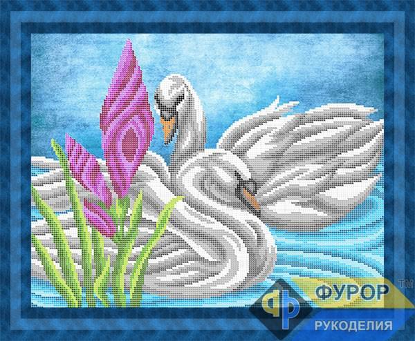 Схема для вишивки бісером картини Лебеді на ставку (ЖБч3-111)