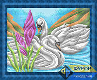 Схема для вышивки бисером - Лебеди на пруду, Арт. ЖБп3-1