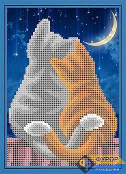 Схема для вышивки бисером картины Пара котов на крыше (ДБч5-133)