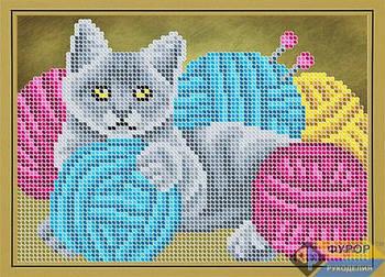 Схема для вышивки бисером картины Кот в клубках пряжи (ДБч5-134)