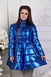 Модне зимове стьобана лакове пальто кльош з пояском в комплекті