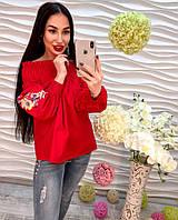 Женская котоновая блузка с вышивкой, спущенные плечи красная, белая, синяя, розовая