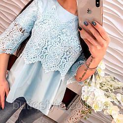 Стильная блузка с дорогим кружевом голубая, белая