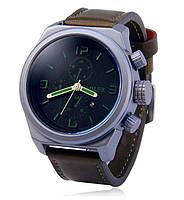 Мужские кварцевые наручные часы MILER A8267 устойчивы к царапинам, ремешок кожа