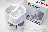Кофеварка с термостойкими фарфоровыми чашками, многоразовый фильтр 2 цвета LIVSTAR  LSU-1190