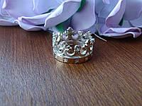 """Серебряное кольцо с золотой пластинкой """"Корона"""", фото 1"""
