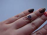 Серебряное родированое кольцо с натуральным гранатом, фото 3