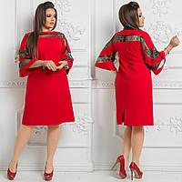 Платье больших размеров 48+ с расклешенным рукавом, украшено сеткой с вышивкой / 4 цвета  арт 3874-544
