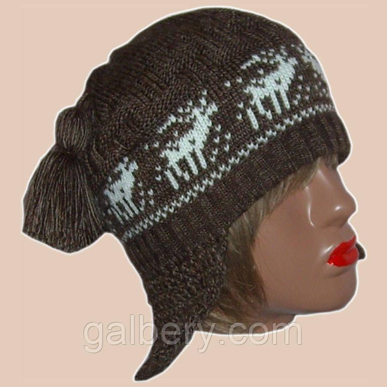 """Женская вязаная зимняя шапка-ушанка коричневого цвета с орнаментом """"олени"""""""