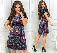 Бархатное платье принт цветы, рукав пайетка / 2 цвета арт 3888-300