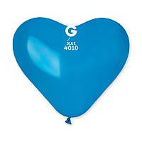 """Шар сердце Gemar пастель синее 10"""" 25 см"""