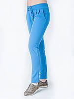Модные женские брюки голубого цвета, со шнурком на поясе