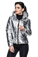 Демисезонная женская куртка Веста серебро Модная зона  42-54 размеры