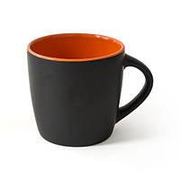 Чашка керамическая ETNA черно-оранжевая матовая наружу и глянцевая внутри, 300 мл, под нанесение изображения