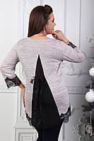 Красивая женская нарядная кофточка туника блузка с кружевом и широкий спинкой батал больших размеров пудра