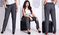 Женские штаны на резинке, со стрелками, больших размеров 48+ принт елка / 2 цвета  арт 3907-300