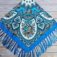 Платок с цветами для женщин(120х120см, бирюза, 80%-шерсть)