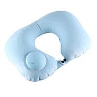 Дорожная надувная подушка для шеи со встроенной помпой ROMIX голубой