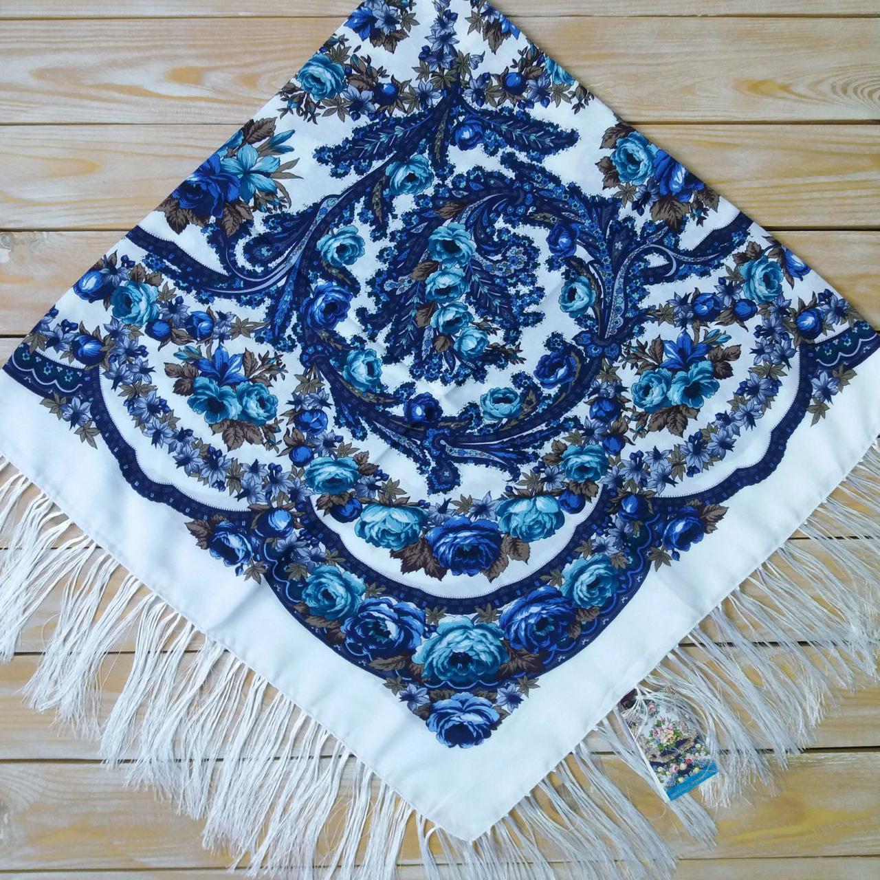 Біла жіноча хустина з голубим орнаментом, 80%-шерсть, 120х120см