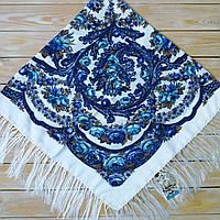 Біла жіноча хустина з голубим орнаментом, 80%-шерсть, 120х120см, фото 1