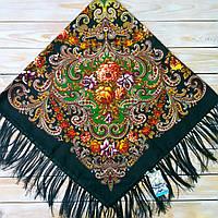 Платок с цветами для женщин темно-зеленого цвета (120х120см,  80%-шерсть)