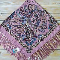 Красивый женский платок с цветами (120х120см,  80%-шерсть), фото 1