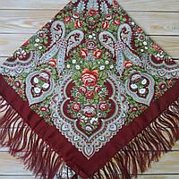 Красивый женский платок бордового цвета (120х120см,  80%-шерсть), фото 1