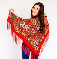 Роскошный платок для девушек красного цвета  (120х120см,  80%-шерсть)