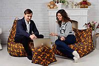 Кресло мешок груша пуф (набор) желтого цвета