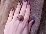 """Кольцо с авантюрином (""""золотой песок""""). 21 размер.Тибетское серебро., фото 2"""