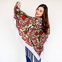 Платок для девушек белого цвета  (120х120см,  80%-шерсть)