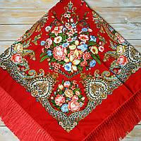 Большой женский платок красного цвета (135х135см, красный, 80%-шерсть)  , фото 1