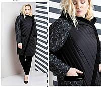 Женское пальто комбинированное, большого размера 48-64р, черное