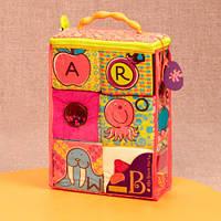 Мягкие кубики-сортеры ABC (6 кубиков, в сумочке, мягкие цвета), Battat, фото 1
