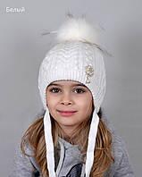 Шапка Белоснежка, зима. Внутри плюшевый мех. р.48-52 (2-5 лет). Белый, молоко, пудра, св.серый