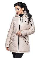 Стильная демисезонная бежевая куртка-парка МИРА Модная зона  44-50 размеры