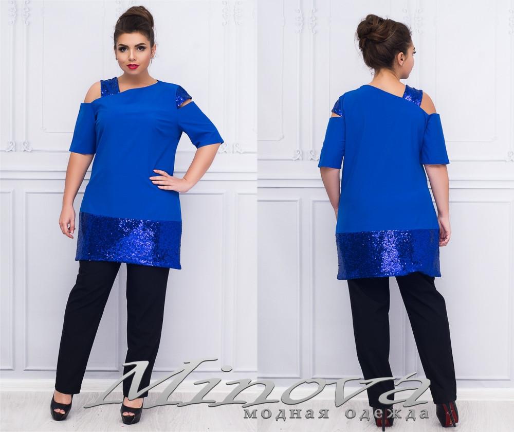 02bf28246029e Асимметричный брючный костюм с пайетками для полных дам с 50 по 56 размер -  Интернет-