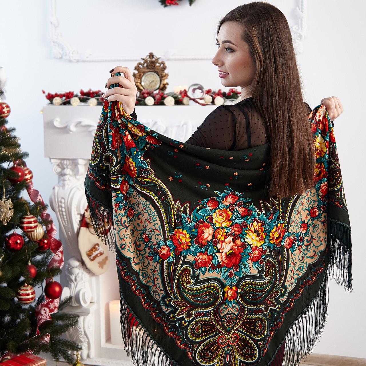 Женский платок с цветами (110х110см,   80%-шерсть)