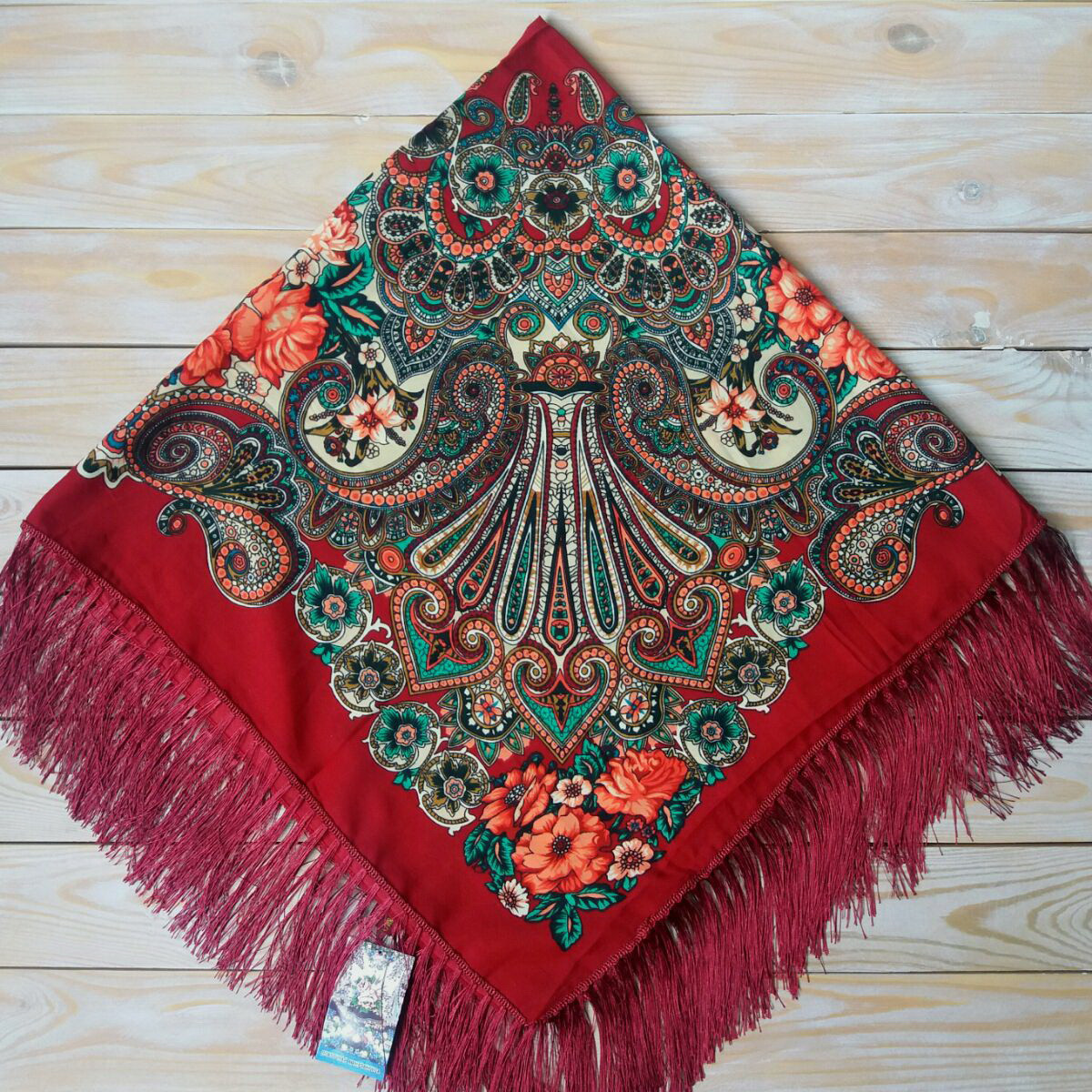 Женский бордовый платок с цветами (110х110см,   80%-шерсть)