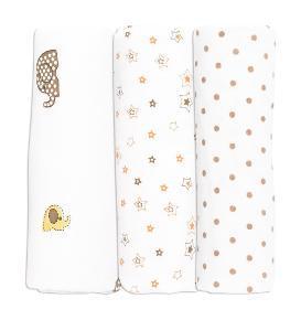 Пеленки байковые фланелевые ХККО ALVI  3 шт.  Белые со слоником