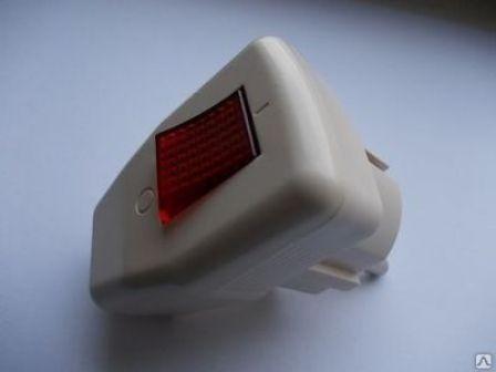 Вилка с выключателем питания и индикатором Rocia 7358 Код.55880