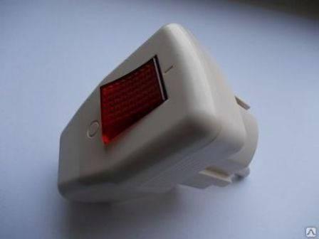 Вилка с выключателем питания и индикатором Rocia 7358 Код.55880, фото 2